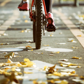 Bicycling in Fall. Urban concept. Bicycle closeup running on cycling path. Leafs on the ground specific for autumn season. Selective focus.